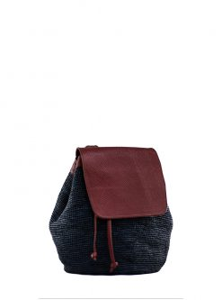 Campus Leather and Straw Backpack