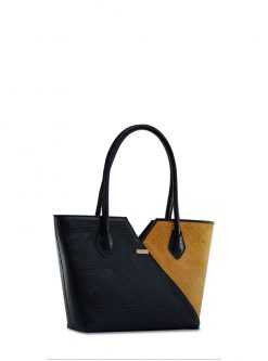 Puzzle: straw and leather designer handbag