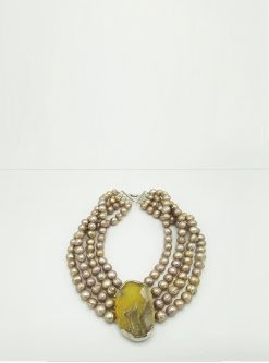 designers jewelry agate and pearls necklace