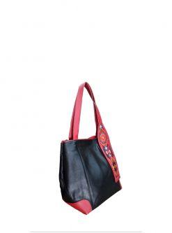 Black Leather designer handbag Inspira side