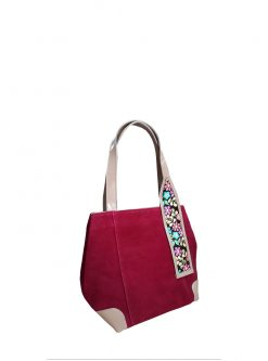 red suede designers handbag: red Inspira