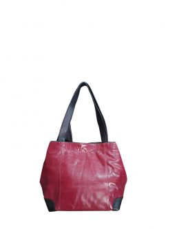 red leather shoulder handbag