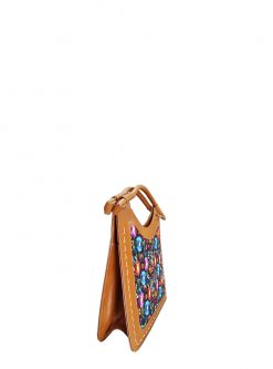 toffee leather tote side