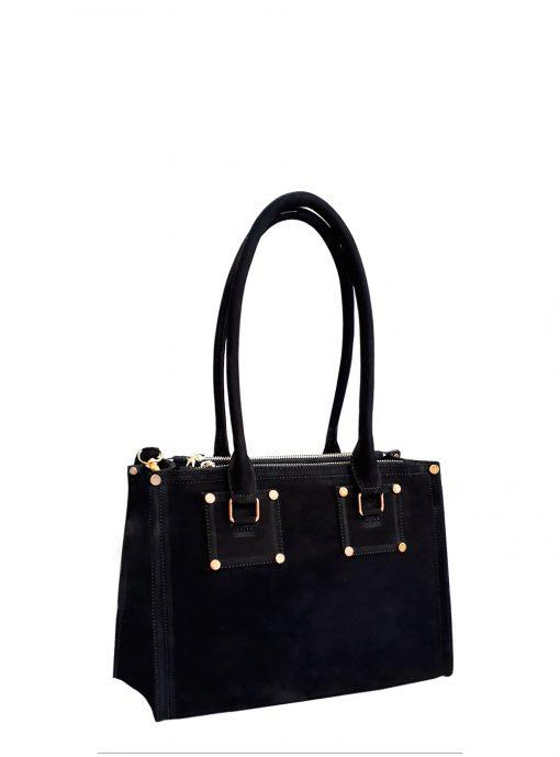 black pansy handbag