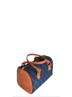 brown and blue barrel handbag