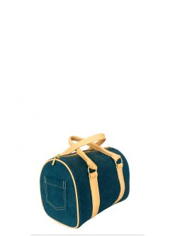 blue denim barrel handbag